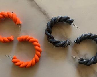 Rope hoop   CLAY EARRING   polymer clay earring   handmade jewelry   handmade earring