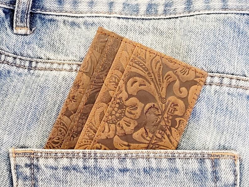 Patterned Wallet Credit Card Sleeve Genuine Soft Leather Slim Brown Card Wallet Patterned Leather Credit Card Holder
