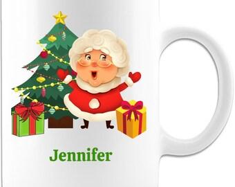 Personalized Name Mrs. Claus Christmas Coffee Mug Gift