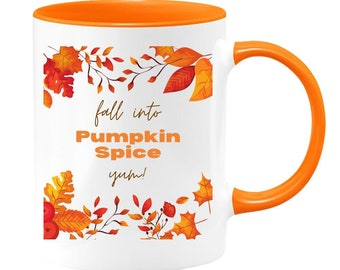 Fall Into Pumpkin Spice Colorful Coffee Mug