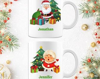Personalized Name Santa Claus Mrs. Claus Christmas Coffee Mug Gift Set
