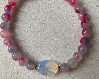 Opaline Glass Beaded Bracelet with Chalcedony Jade and Sterling