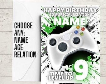 GAMING birthday card - personalised name and age, gamer card, teen birthday card
