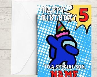 among us birthday card, kids birthday card, gaming birthday card, teen birthday card, any age and any name, relation