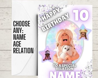 kids birthday card, roblox card, boys birthday card, gaming birthday card, a5 birthday card, any age, name and relation
