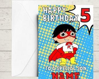 kids birthday card, ryan birthday card, ryans toys card, birthday card
