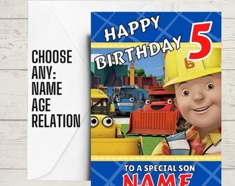 KIDS BIRTHDAY CARDS, bob the builder, boys birthday card, gaming birthday card, a5 birthday card, any age, name and relation