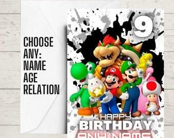 kids birthday card, super mario card, mario birthday card