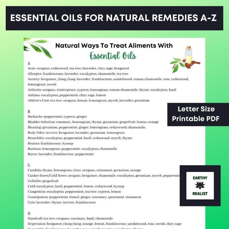 Essential Oils Natural Remedies A-Z Printable  Essential Oils image 0