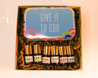 Exodus Gift Set of 6 mini 2 ml roller bottles prayer box / Anointing Oil Gift Set/ Exodus anointing Oil / aceite de ungir Exodo