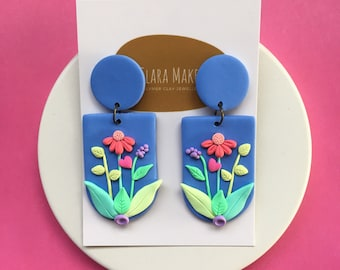 Polymerclay arch earrings with Floral Design