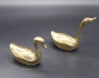 Vintage Brass Mini Swans with Curved Necks Set of Two