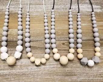 Nursing necklace, silicone bead necklace, breastfeeding necklace, grey and white necklace