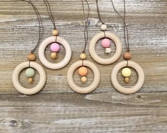 Nursing necklace, silicone bead necklace, wooden ring necklace,  lightweight necklace, breastfeeding sensory necklace
