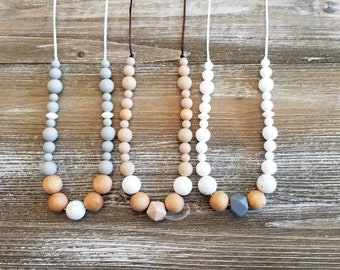 Nursing necklace, all silicone bead necklace, breastfeeding sensory necklace, lightweight necklace