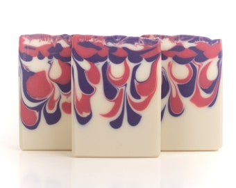 Black Raspberry Vanilla Artisan Soap - Cold Process, Handcrafted, Vegan, and Palm Free Soap Bar