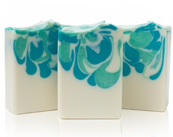 Teal Cascades Artisan Soap - Cold Process, Handcrafted, Vegan, Palm Free, Body Bar, Unisex Gift