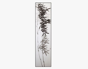"""Original hanging scroll painting """"Bamboo in the wind"""", traditional Chinese ink wash technique, ink on Xuan rice paper, mineral paints"""