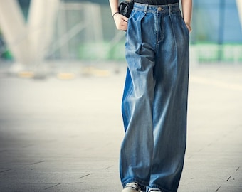 Women's vintage denim high-waisted jeans, wide-leg jeans, straight-leg denim flared pants, fashionable casual washed jeans