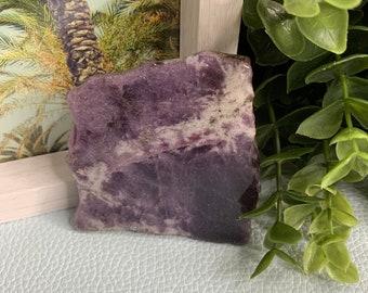 LEPIDOLITE- High Grade Purple Lepidolite slab- Lepidolite with stand- purple- polished on one side- Lepidolite crystal piece- stone- chakra