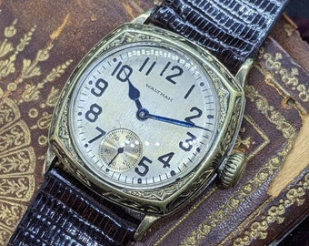 Vintage 1927 Waltham True Art Deco Men's Watch Ornate Cushion Case Serviced W/Warranty!!