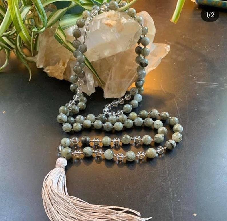Labradorite mala necklace Clear Quartz mala necklace,