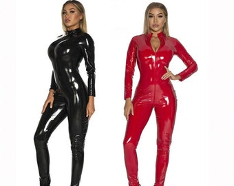 Details about  /Halloween Red PVC Catsuit with Front Open Zipper Halloween New Size 6