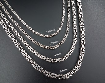 Byzantine Chain Necklace,925 sterling Silver chain necklace,Silver Bali Chain,Men chain necklace,Women chain necklace,Oxidized silver chain