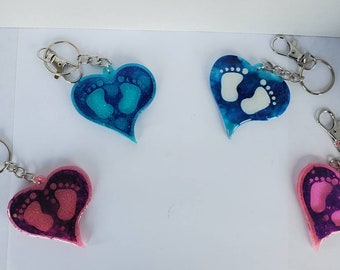 Resin keychains, baby feet, pink, blue, baby shower gift, heart, customizable