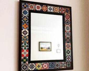 Mexican Tile Mirror, Bohemian Mirror, Mexican Tile, Mosaic Mirror, Mexican Talavera Tile, Talavera Mirror, Art Deco Wall Mirror, Wall Art