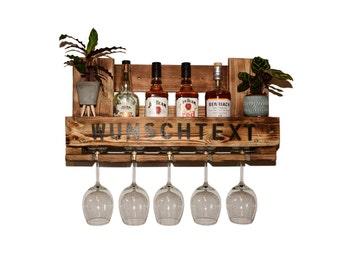 Schnapsregal Wine shelf vintage kitchen Euro pallet bottle shelf rustic house bar wish text wall shelf wooden furniture wall bar