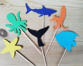 Six Sea Creature Cup Cake Toppers