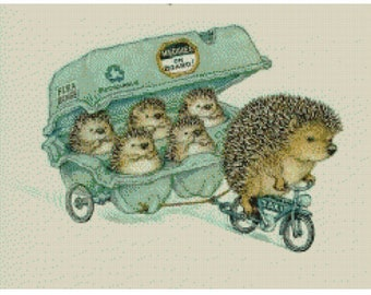 """45 x 35 cm Counted Cross Stitch Pattern """"Hedgies On Board!"""" (101213)"""