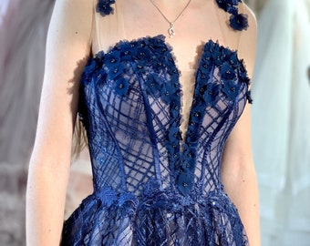 Mother of the bride dress in Blue, Princess ball gown, Dark Blue Sequined sparkle gown, Evening Floral Prom Dress