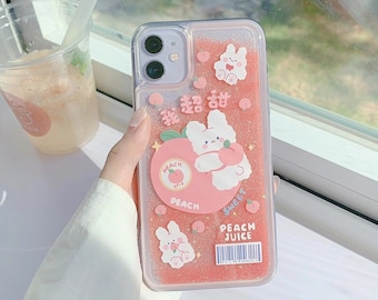 Peach Quicksand Glitter Kawaii Phone Case Rabbit Bear Animal  Fruit Juice iPhone Case