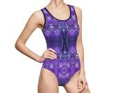 Designer Bathing Suit, One-Piece Bathing Suit, Hippie Swimsuit, Boho Swimsuit, Designer Swimsuit, Gothic Bathing Suit, fractal clothing