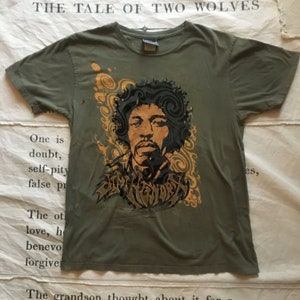 Psychedelic Jimi Hendrix Velvet Graphic T-Shirt Tee Size M