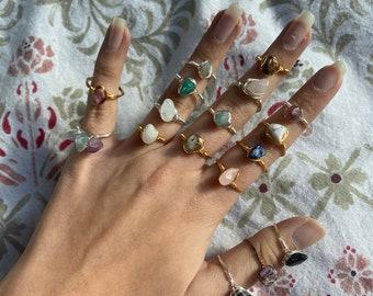 Simple rings with semi-precious stones