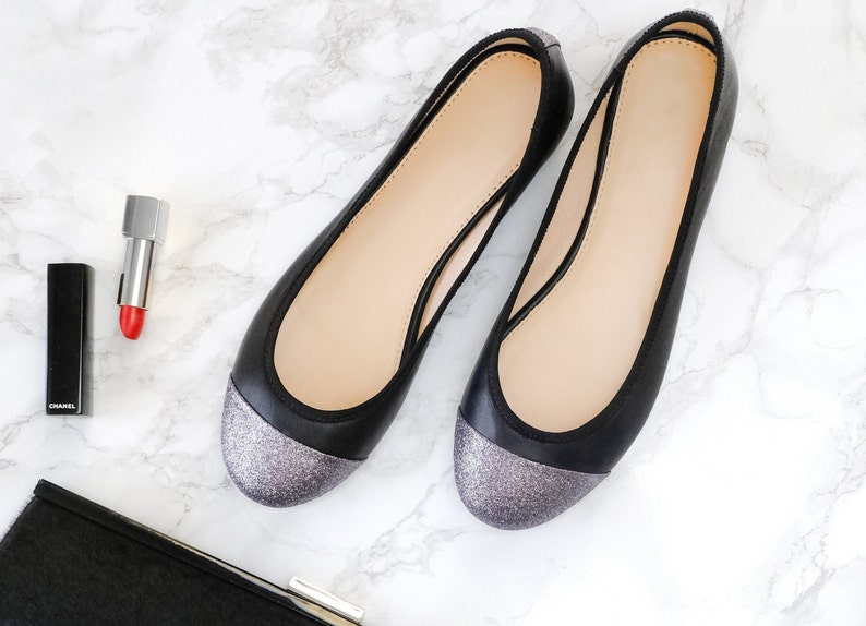 Women shoes handmade shoes ballet shoes leather shoes woman Black Italian Leather Ballet Flats with Silver Glitter Toecap