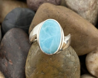 JPY0116 925 Silver Ring Larimar Ring For Her Ring Anniversary Ring AAA Larimar Ring Christmas Gift idea For Her Artisan Ring 7US