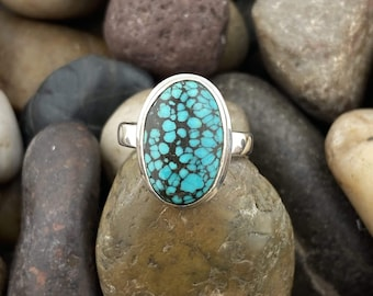 Turquoise Ring 145, Turquoise Cabochon Ring, Rare Old Stock Turquoise, Turquoise Crystal Ring, Natural Gemstone For Gift