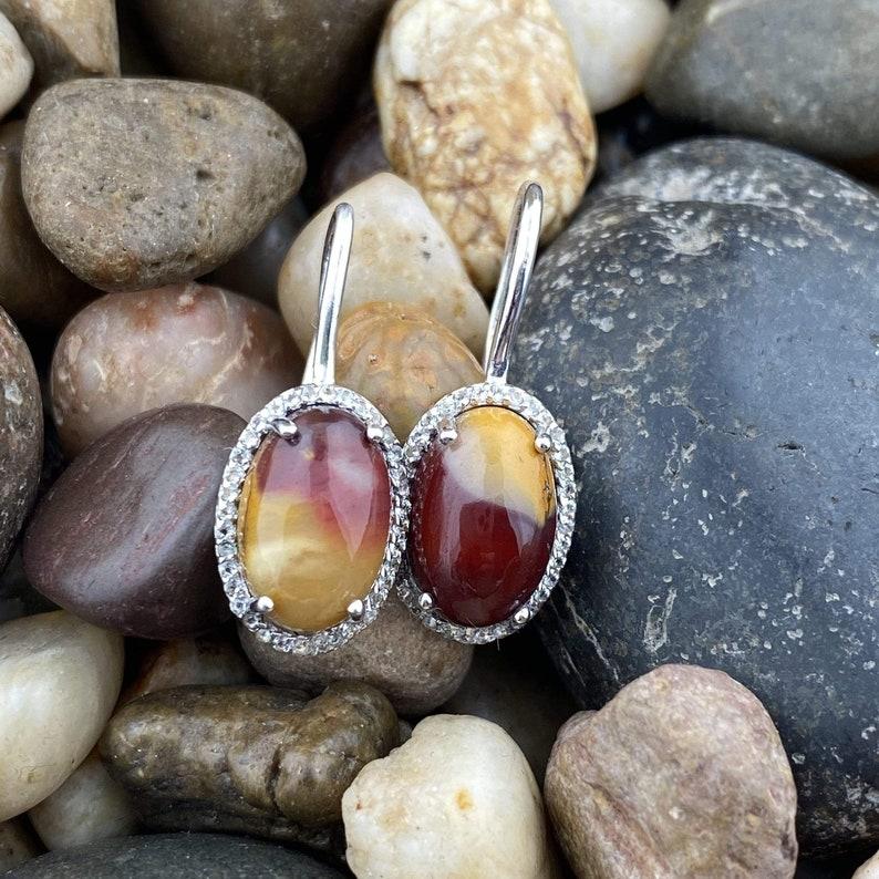Earrings Jasper Natural Mookaite Earrings Dangle Earrings jewelry Unique Sterling Silver Mookaite Earrings 3 Gemstone Jewelry