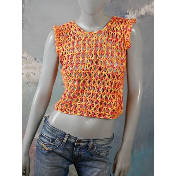 Crochet Sweater Vest, 1990s Vintage Crochet Orang… - image 1