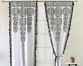 100/% cotton Heavy Weight Custom Curtains Cottton Printed Curtain Panels Extra Long drapes ethnic Curtains Moroccans pattern