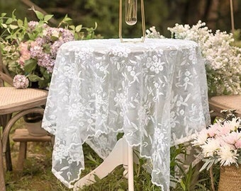 Exquisite vintage French large two toned rectangle lace tablecloth with twelve matching napkins or wedding dress fabric 08233