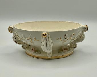 Royal Sealy Cherub Planter Flower Pot Planter  with Original Sticker White Porcelain Gold Trim Beautiful