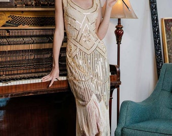 Flapper Gatsby Bertha Dress, Prom Fringe Dress 1920s Vintage Inspired Great Gatsby Art Deco Charleston Downton Abbey Bridesmaid Wedding