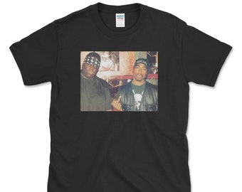 2Pac T-Shirt SHAKUR 2 PAC Homme Unisexe Haut Rap Hip Hop Biggie Smalls BIG