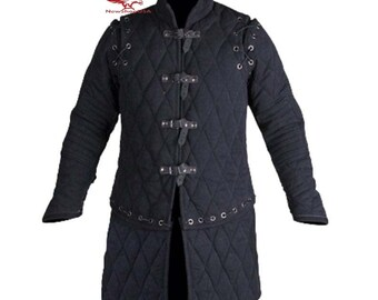 Medieval Warrior Padded Armor Short Gambeson Long Sleeves Black