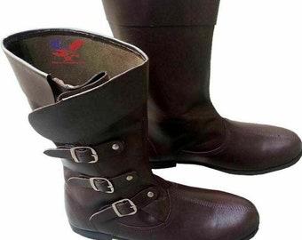 Details about  /Medeival Leather Boots,Re-enactment Renaissance Pirate Shoes Men/'s Long Boot